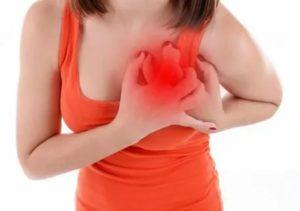 При глотании отдаёт в область сердца